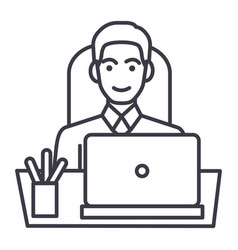 businessman in office at table with laptop front vector image