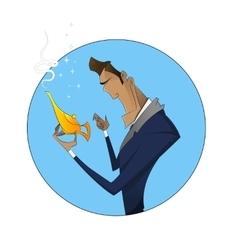 cartoon businessman with magic vector image