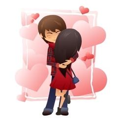 detailed flat of hugging vector image
