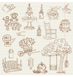 Gardening Hand Drawn Doodles vector image vector image