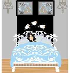 girl counting sheep to fall asleep vector image