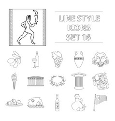 greece set icons in outline style big collection vector image vector image