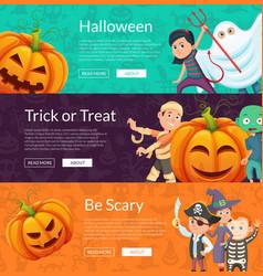 halloween banner set template with cartoon vector image vector image