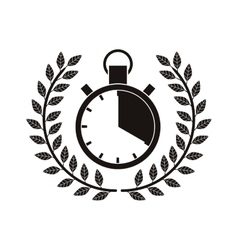 monochrome timer award between olive branch vector image vector image