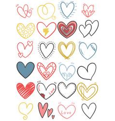 0028 hand drawn scribble hearts vector