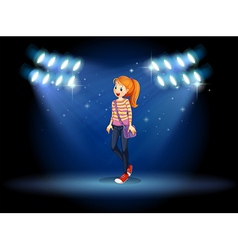 A girl with a slingbag in the middle of the stage vector image