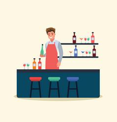 a male bartender man serving vector image