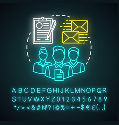 administration team neon light concept icon vector image