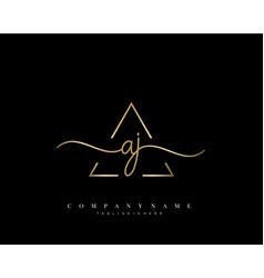 Aj initial handwriting logo vector
