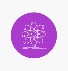 atom science chemistry physics nuclear white line vector image