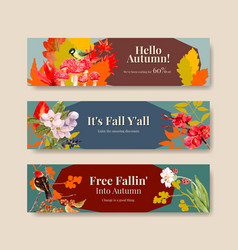 banner template with autumn forest and animals vector image