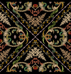 baroque embroidery seamless pattern vector image