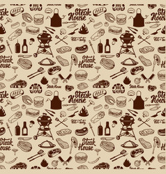 bbq and grill seamless pattern grilled meat vector image