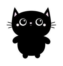 Black cat toy icon big eyes kitty kitten standing vector