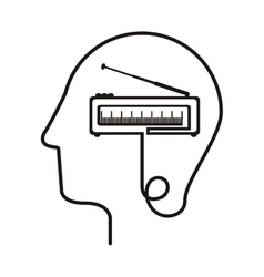 Black silhouette head with tape recorder vector