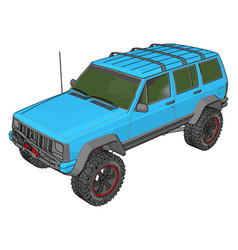 Blue jeep cherokee on white background vector