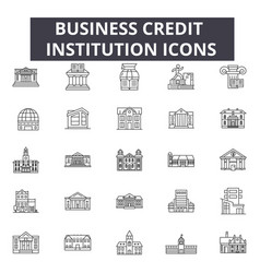 business credit institution line icons for web and vector image