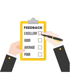 Business hand checking feedback questionnaire vector