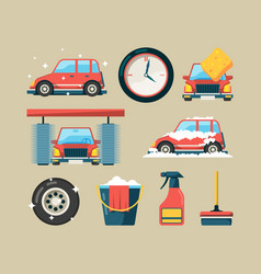 car wash icon set foam roller washing machines vector image