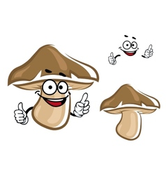 Cartoon brown forest mushroom character vector image