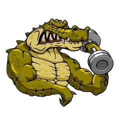 Cartoon crocodile mascot with dumbbell vector
