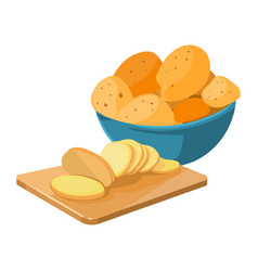Cartoon potato bowl cutting board with potato vector