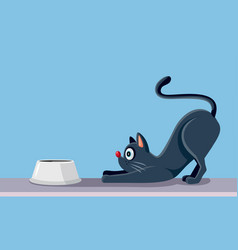 cat eating cartoon vector image