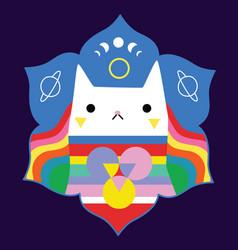 Cat mascot mandala vector