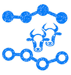 Cattle dotted charts icon grunge watermark vector