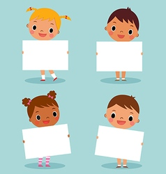 Children holding blank sign vector