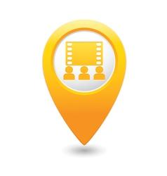 Cinema icon yellow map pointer vector