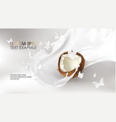 coconut milk splash swirl realistic vector image
