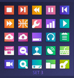 colorful flat square icons-set 3 vector image