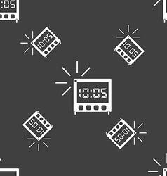 Digital alarm clock icon sign seamless pattern on vector
