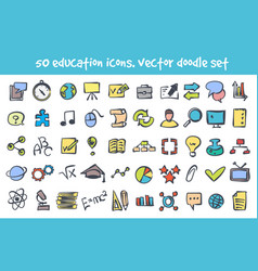 Doodle nature icons set vector