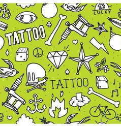 Doodle tattoo seamless background vector image