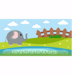 Elephant cute animals in cartoon style wild vector