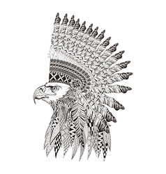 entangle stylized head eagle in feathered war vector image
