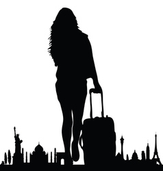 Famous monument with travel girl vector