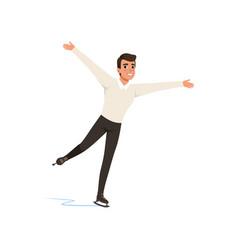 Figure skater man skating male athlete practicing vector