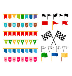 Flag and garlands for invitation card vector