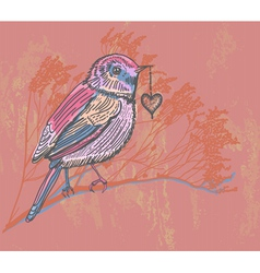 floral card with bird vector image
