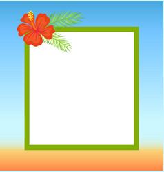 frame topped by red flower summertime border vector image