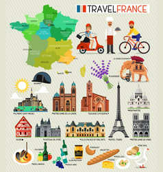 France landmarks and travel map france travel vector