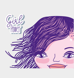 Girl power cartoon vector