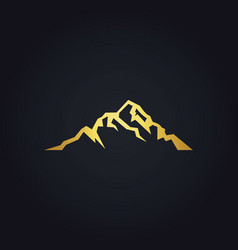Gold mountain sign logo vector