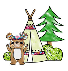 Grated bear animal with camp next to bush and pine vector