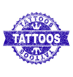 Grunge textured tattoos stamp seal with ribbon vector
