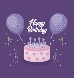 happy birthday card with sweet cake and balloons vector image