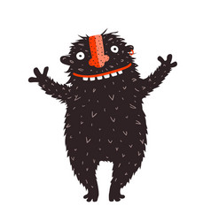 happy quirky smiling monster character cheer vector image